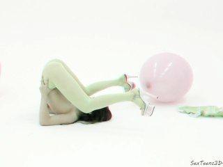 Menina adolescente flexível posando em estúdio pornô 3d nos bastidores