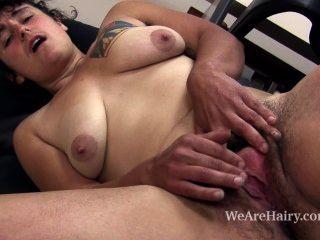 Valerie peludo brinca com seu bichano peludo em sua mesa