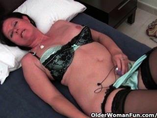 Curvy, maduras, mãe, meias, toying, dela, peludo, bichano