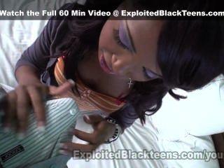 Black amateur teen w braces recebe uma grande facial