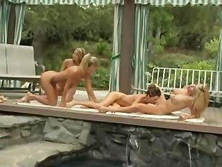 Lesbian, foursome, piscina, lado