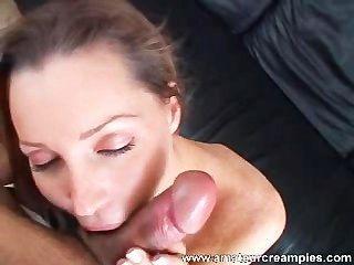 Menina quente recebe creampie