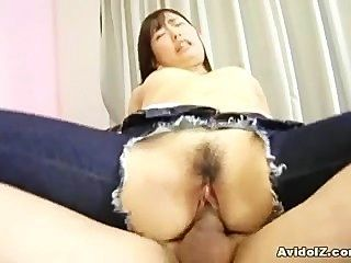 Japonês, adolescente, buraco, dela, jeans, obtêm, feito