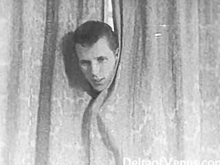 Autêntico vintage porn 1950s afeitado buceta, voyeur fuck