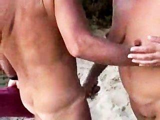 Nude, par, praia