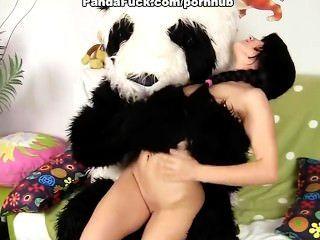 Sexy pintainho fode com urso de pelúcia grande