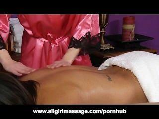Interracial, lésbica, massagem, cinza, hollywood, ariel, rosa
