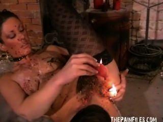 Kinky crystels quente castigo de cera e auto torturante bdsm de fetish Inglês