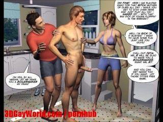 Desesperado, maridos, 3D, bissexual, mmf, desenho animado, quadrinhos, ou, hentai, toons