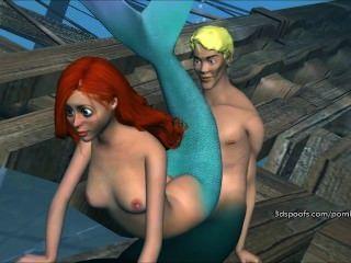 Selvagem pouco mermaid obtém fodido sem sentido parte 3