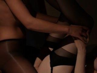Lesbs, tendo, sexo, frente, espelho