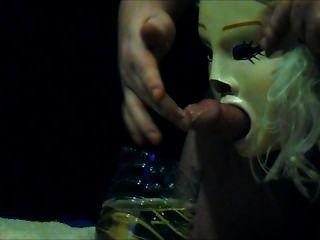Escravo, mijar, através, máscara
