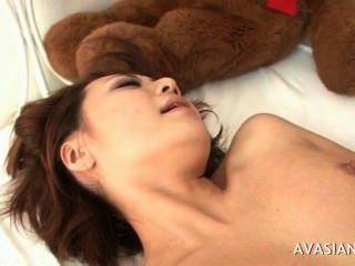 Asiático, suculento, pussy, largo, abertos, coberto, cum