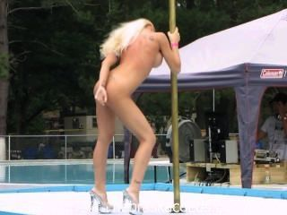 Stripper, competição, nudista, recurso, ao ar livre