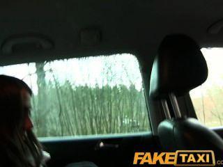 Faketaxi bonito russo turista com um bichano apertado