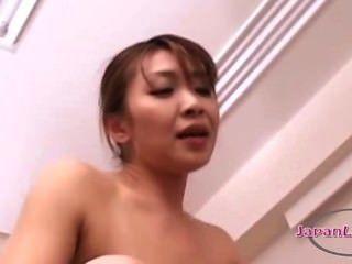 Asiático, mulher, lamber, bichanos, 69, jovem, menina, fodido, strapon