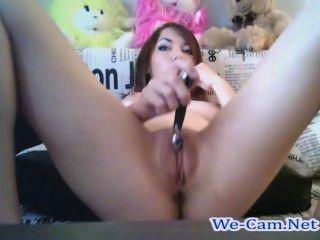 Bela garota masturbates em sala de chat público webcam