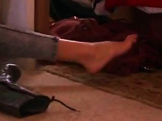Sexy e quente gadot mostrar seus pés sexy em meias