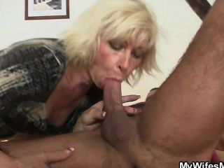 Sewing granny jumps on his cock 3