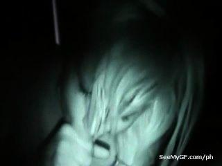 Sexting vídeo visão noturna da ex-namorada dando boquete