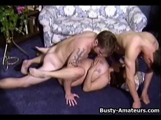 Busty brunette helena em threesome