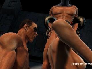 Harley quinn, pisco de peito vermelho, eo palhaço 3 alguma penetração dobro, buceta suculenta