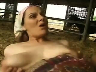 Milf cabeludo com os boobs grandes fodidos e facialized