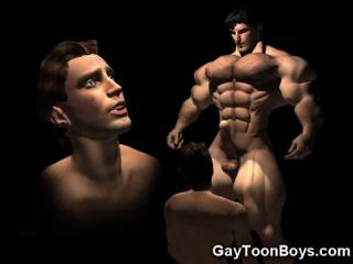 Fantasia do galo grande dos gays 3d muscled!