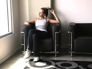 Madeline, suado, pés, após, treinamento