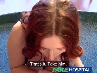 Fakehospital busty novo membro da equipe chupar e foder para o trabalho