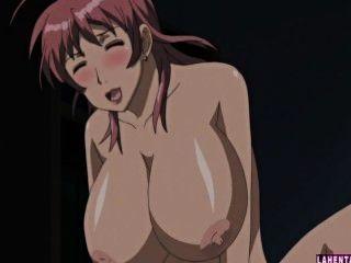 Dois grandes titted hentai babes fica fodido em trio