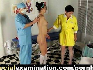 Doce, faculdade, babe, examinado, desagradável, ginecologista