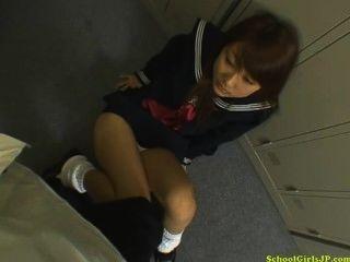 Schoolgirl, dar, blojwob, dela, joelhos, cum, boca, locker, sala