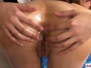 Asiático, menina, beijando, masseuse, obtendo, seu, asshole, licked, fingere