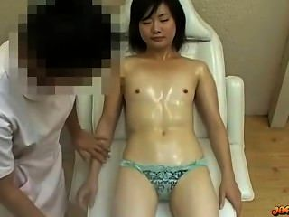 Asiático, menina, minúsculo, tits, massaged, pussy, estimulado, vibrador, ma
