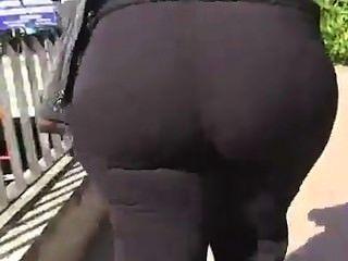 Grande, gordo, maduro, bbw, booty, andar, ao ar livre