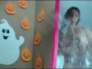O espelho chubby do Dia das Bruxas da vagabunda esguincha