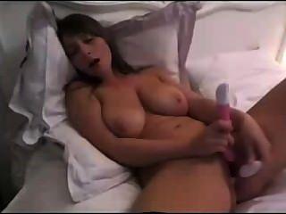 Morena, babe, gigante, natural, tits, dildoing