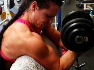 Músculo, meninas, treinamento, ginásio