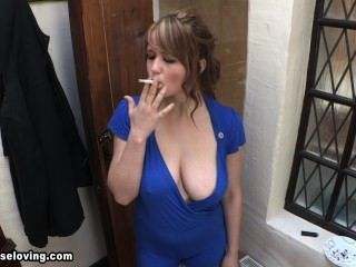 Louise smoking azul downblouse 2