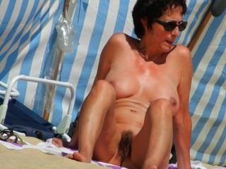 Chatte poilue sur la plage