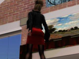 Une jolie blonde à lunette em mini robe collant noir