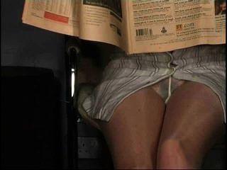 Pantyhose upskirt, sem calcinha