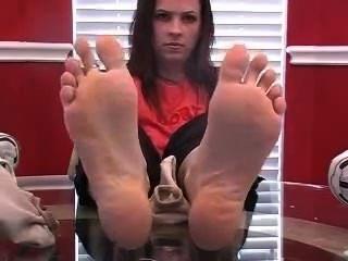 Brittany, doce, fedor, pés, seu, rosto
