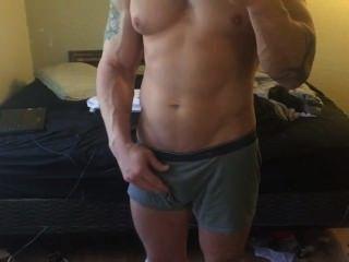 Músculo, stud, mostrando, desligado