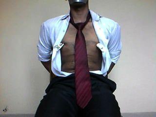Menino, amarrado, cima, cadeira
