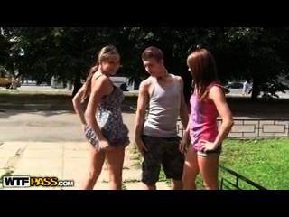 Adolescente, ao ar livre, trio, sorte, sujeito