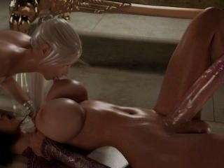 Hot dickgirl 3d com um galo de 15 polegadas fode uma loira quente