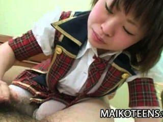 Mayu, nakane, jovem, japoneses, desfrutando, difícil, galo