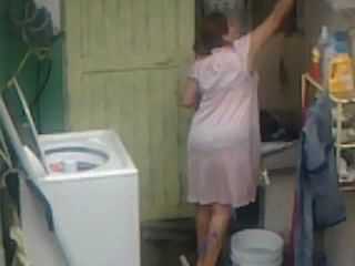 Espionando, aunty, burro, lavando, grande, bunda, carnudo, plumper, mãe